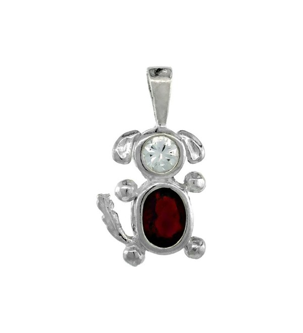 Sterling Silver Birthstone Dog Brat Charm January Garnet Color Cubic Zirconia - CE117UIHLAD