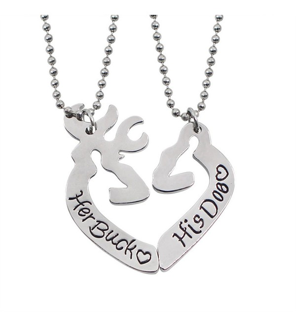 Her Buck&His Doe Heart Elk Split Deer Couple Engraved Lover Pendant Necklace - Her Buck&His Doe - CY17Z3ARA0U