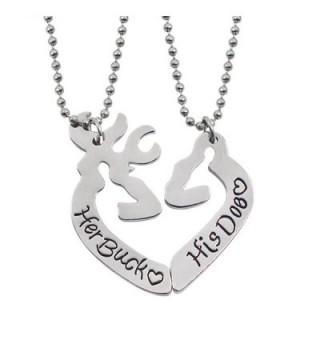 Her Buck&His Doe Heart Elk Split Deer Couple Engraved Lover Pendant Necklace - Her Buck&His Doe - CY17Z3ARA0U