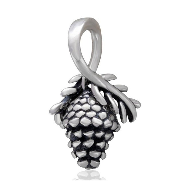 Choruslove Pinecone Charm Dangle 925 Sterling Silver Pendant Bead for Christmas Bracelet Gift Compatible - C6128PONZTR