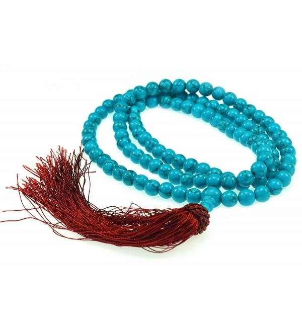 108 Simulated Turquoise Stone Praying Mala Bead - J101 - C5116H97M29