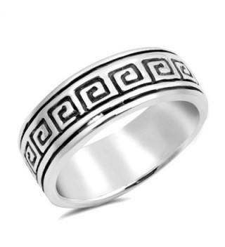 Oxidized Etched Greek Key Wedding Ring New .925 Sterling Silver Band Sizes 6-9 - C312O4DBAUZ