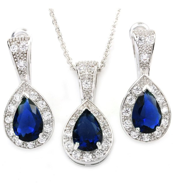 FC JORY White Gold GP Colorful Cubic Zirconia Crystal Teardrop Halo Necklace Earrings Jewelry Sets - Blue - CH127L1HDV1