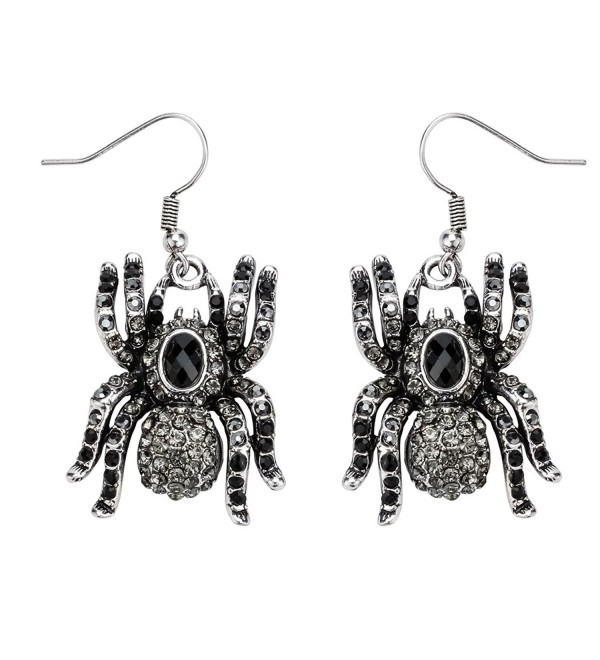 Szxc Jewelry Spider Dangle Earrings Halloween Gifts for Women Teen Girls - silver black - CN17YAY3ESW