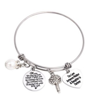 Wedding Gift for Mom Stainless Steel Bangle Bracelet The Love Between Mother And Daughter Is Forever - Bangle - C4184UE0SUQ