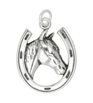 Sterling Silver Horse in Horseshoe Charm (22 x 18 mm) - CW11B4OP4SL