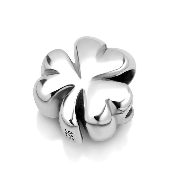 925 Sterling Silver Shamrock Clover Leaf Bead Charm Fit Major Brand Bracelet - CB11DM5NASZ