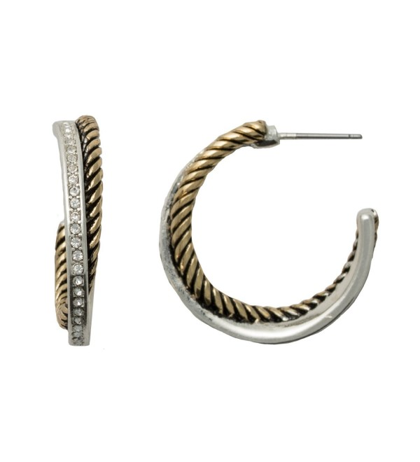 Hypoallergenic Two-Tone Post Hoop Earrings for Sensitive Ears - CD1882U8HKU