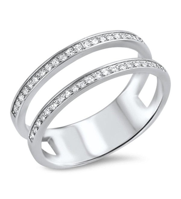 White CZ Cute Open Bar Ring New .925 Sterling Silver Band Sizes 5-10 - CG12HBSKLW7