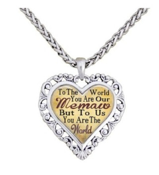 Memaw You Are The World To Us Silver Chain Necklace Heart Jewelry Grandmother - CX12BP27A4B