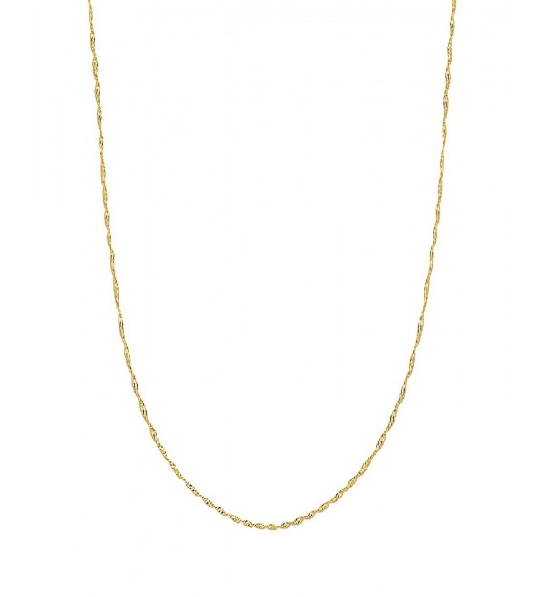 10k Solid Yellow Gold Singapore Pendant Chain Necklace 20 Inches - C8119WT9QJN