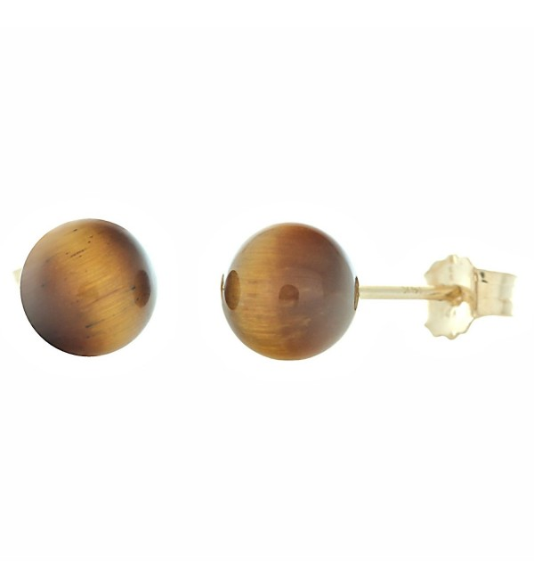 Trustmark 14K Yellow Gold 6mm Natural Brown Tigers Eye Ball Stud Post Earrings Solid - CD118ZIEA51