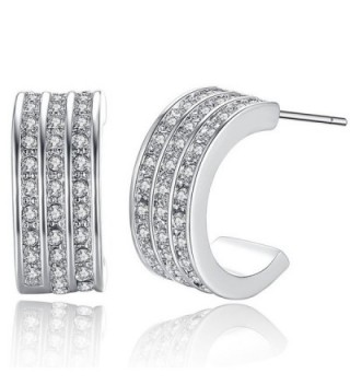 Joyfulshine Womens Crystal Zircon Half Ring Stud Earrings White Gold Plated - CN11A3NWXBJ