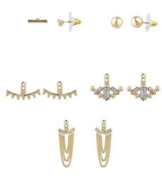 Lux Accessories Goldtone Geo Miss Match Ear Jacket Multi Earring Set 5PC - CS12I3GW5R5