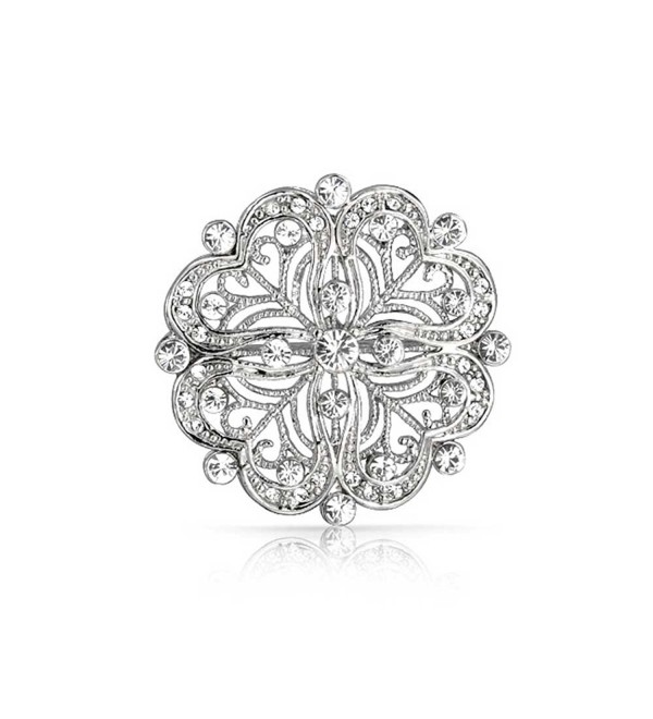Bling Jewelry Vintage Style CZ Flower Pin Heart Brooch Rhodium Plated - C411D21S3H3