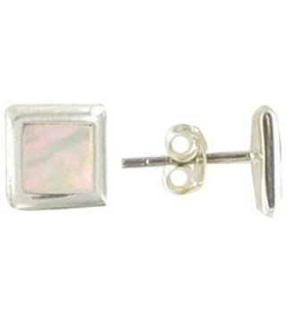Les Poulettes Jewels - Sterling Silver and Mother of Pearl Studs - CL119UTX579