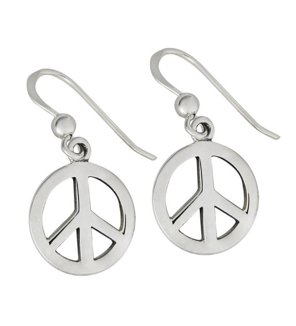 Sterling Silver Peace Sign Symbol Earrings Jewelry - CC12GSE1LMT