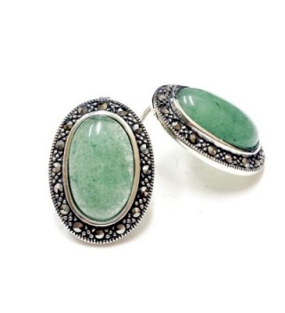 .925 Sterling Silver Oval New Jade with Marcasite Stud Earrings - CU11NZCWL8L