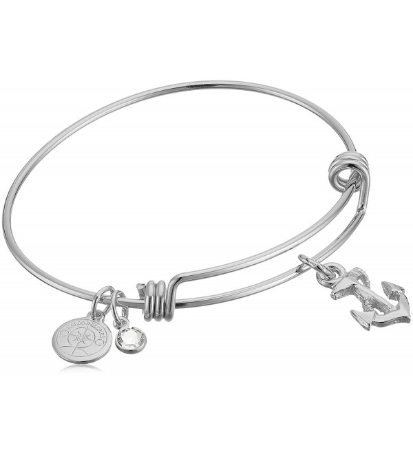 "Halos & Glories- ""Anchor"" Charm Bangle Bracelet - Shiny Silver - CQ185OCD833"