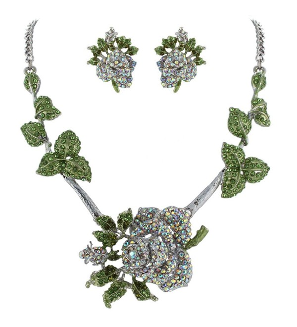 EVER FAITH Rose Clear Green Austrian Crystal Necklace Earrings Set Silver-Tone - CS11BGDM66X