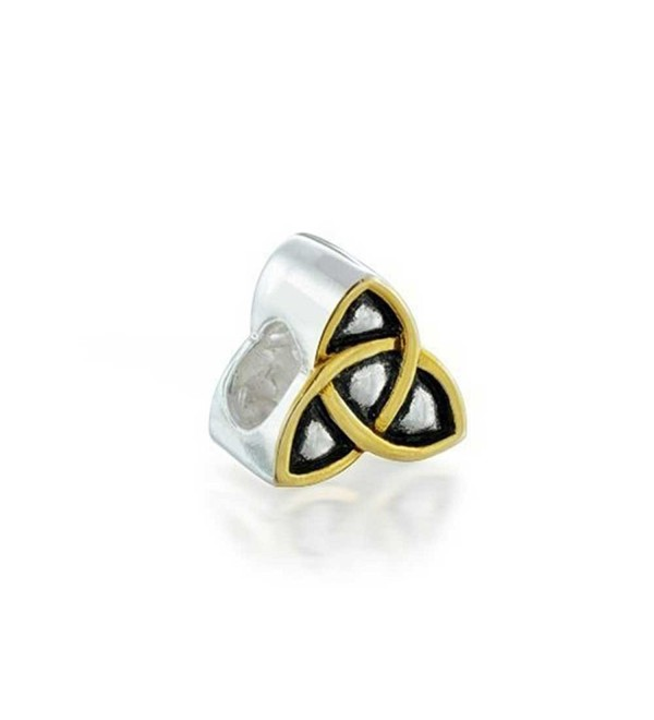 Bling Jewelry Triquetra Celtic Knot Bead Charm Gold Plated 925 Silver - CY116C12HFT