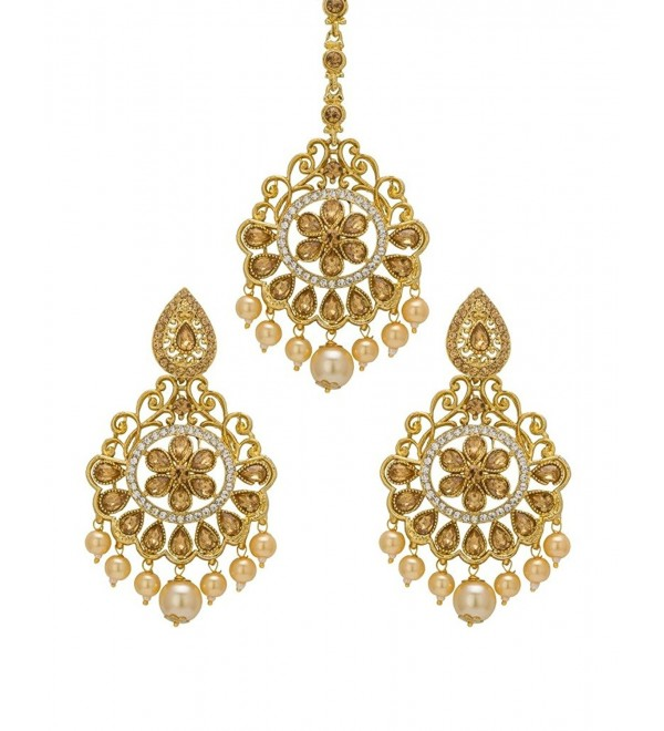 Bindhani Wedding Indian Pakistani Style Head Jewelry Cubic Zirconia Maang Tikka Earrings Set For Women - C517AZNN8C8