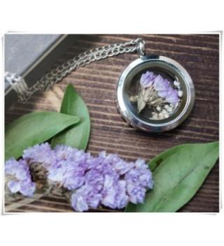 Lavender statice flower locket- purple- baby breath- sterling silver- glass locket- terrarium- bridesmaid gift- - CV12MY1GQZ7