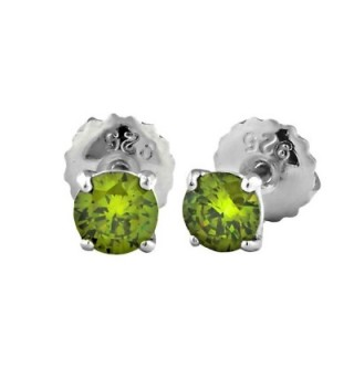 Ellah: 4mm 0.5ct Brilliant-cut Simulated Peridot Screw Back Stud Earrings 925 Silver- 1006 - C111LZ2OHIP