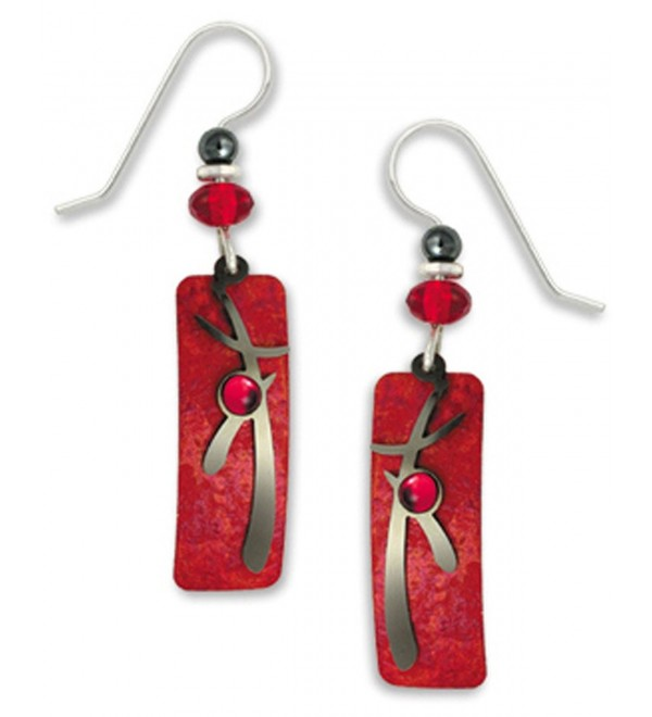 Adajio By Sienna Sky Red Silver-tone Column Overlay Earrings 7297 - CH11BLMW169