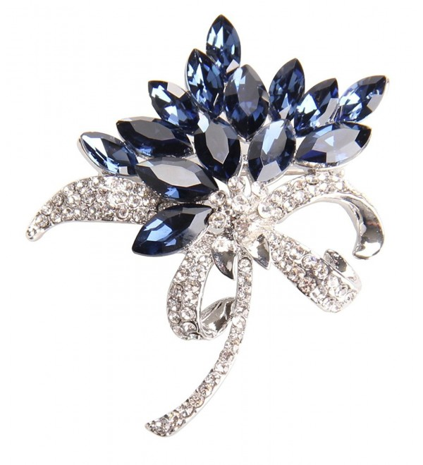 Gyn&Joy Women's Orchid Flower Crystal Bling Brooch Pin Jewelry BZ002 - Blue - CB17Z30R6C2