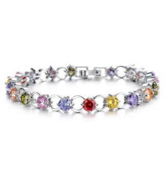 Tennis Bracelet Silver Cubic Zirconia Bracelet For Women Round Cut - Multi-Color - CH185SOQQLU