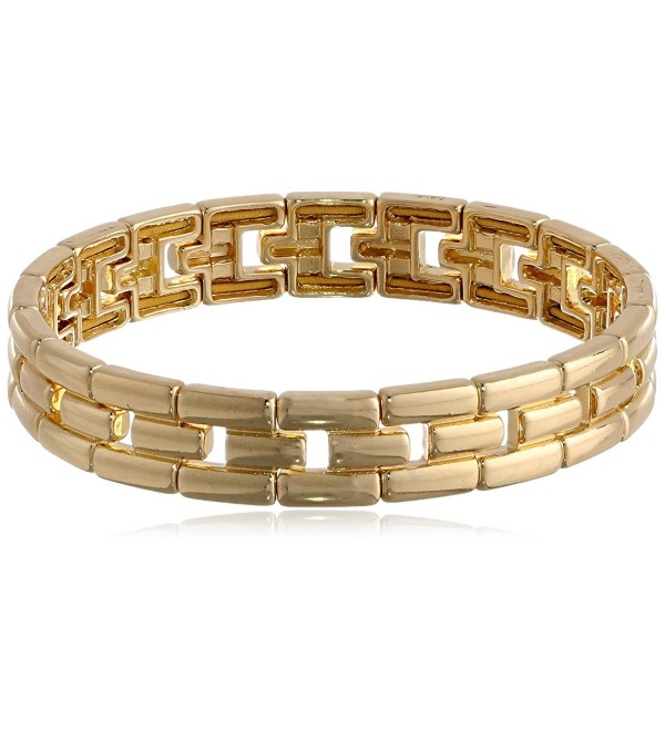 "Anne Klein ""Classics"" Gold-Tone Linked Stretch Bracelet - C911D7QHRYN"