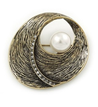 Vintage Inspired Textured- Crystal 'Shell' with Pearl Brooch In Antique Gold Metal - 45mm L - CC129M8JW3D