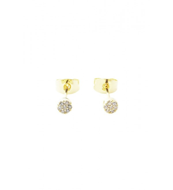 HONEYCAT Tiny Crystal Circle Stud Earrings in Gold- Rose Gold- or Silver | Minimalist- Delicate Jewelry - Gold - C0185L3IUY2