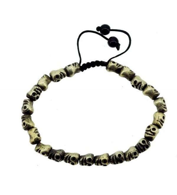 Tibetan Metal Skull Wrist Mala- Skull Buddhist Prayer Beads- Skull Wrist Mala Beads - CL11ERBNDBD