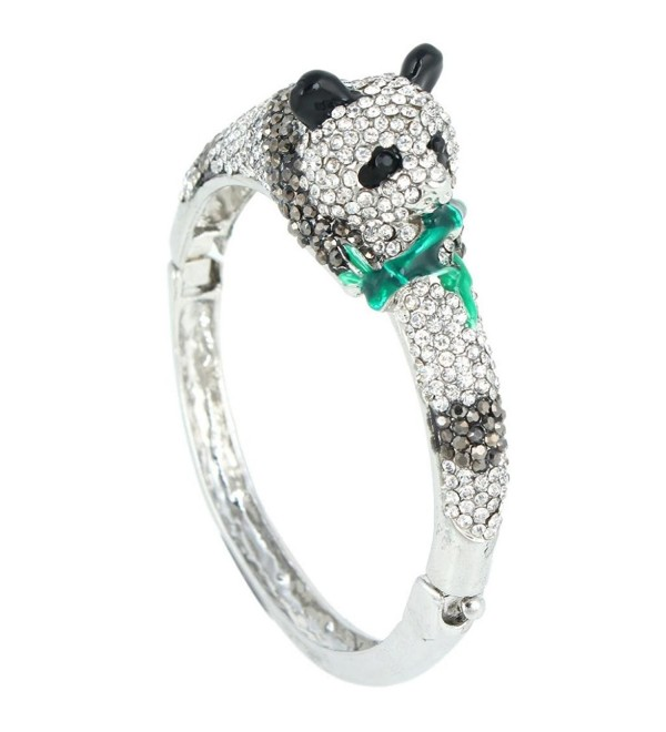 EVER FAITH Women's Austrian Crystal Enamel Adorable Panda Animal Bracelet - Silver-Tone - CP11C6B3GNV