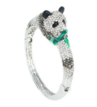 EVER FAITH Women's Austrian Crystal Enamel Adorable Panda Animal Bracelet - Silver-Tone - CP11C6B3GNV