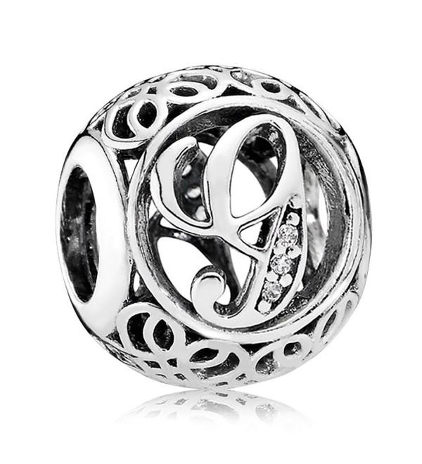 Everbling Vintage Letter A-Z Clear CZ 925 Sterling Silver Bead Fits Pandora Charm Bracelet - G - CW188MCXE63