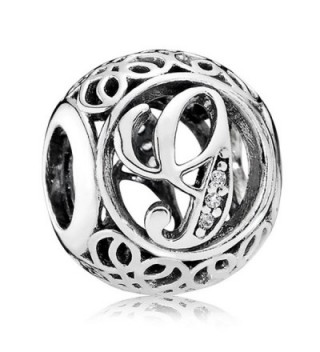 Everbling Vintage Letter A-Z Clear CZ 925 Sterling Silver Bead Fits Pandora Charm Bracelet - G - CW188MCXE63