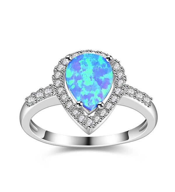 Dnswez Teardrop CZ Cubic Zirconia Fire Opal Ring Silver Statement Band Ring - Blue - CJ185O305T6