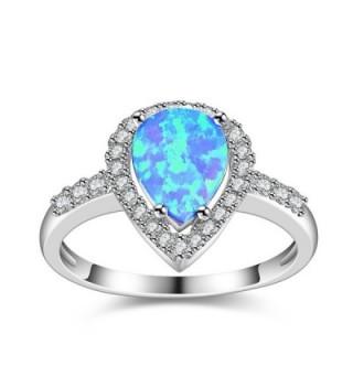 Dnswez Teardrop CZ Cubic Zirconia Fire Opal Ring Silver Statement Band Ring - Blue - CJ185O305T6