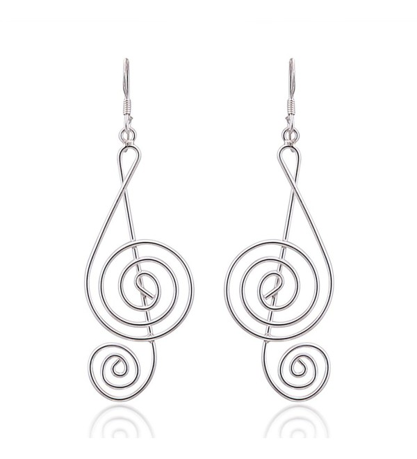 925 Sterling Silver Light Wire 45 mm Long G-Clef Music Note Dangle Hook Earrings - CG11LWHSBRV