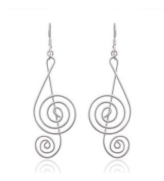 925 Sterling Silver Light Wire 45 mm Long G-Clef Music Note Dangle Hook Earrings - CG11LWHSBRV