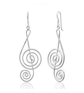 Sterling Silver G Clef Dangle Earrings