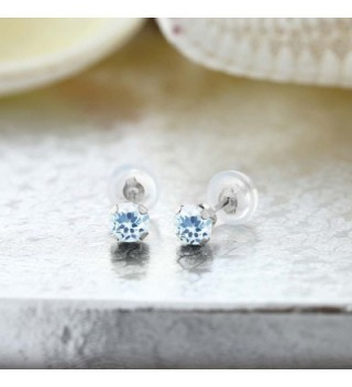 Round Topaz Gemstone Birthstone Earrings in Women's Stud Earrings