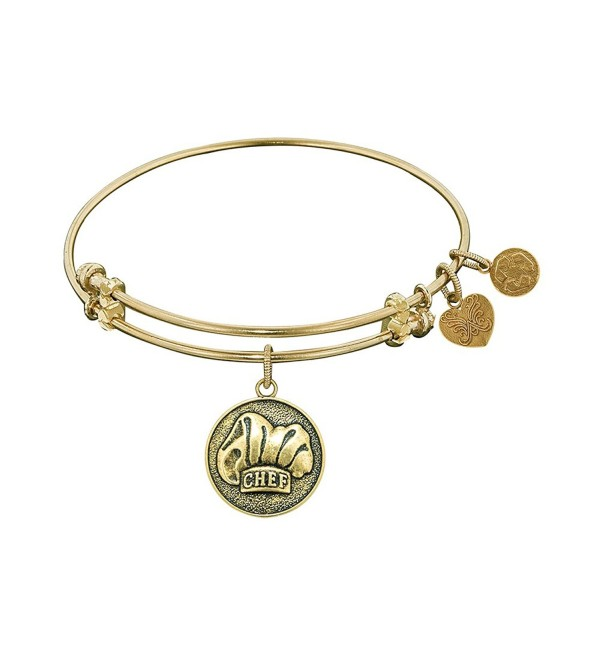 """Angelica Collection Antique Stipple Finish Brass """"chef"""" Expandable Bangle - Yellow - C411JRW0GEJ"""