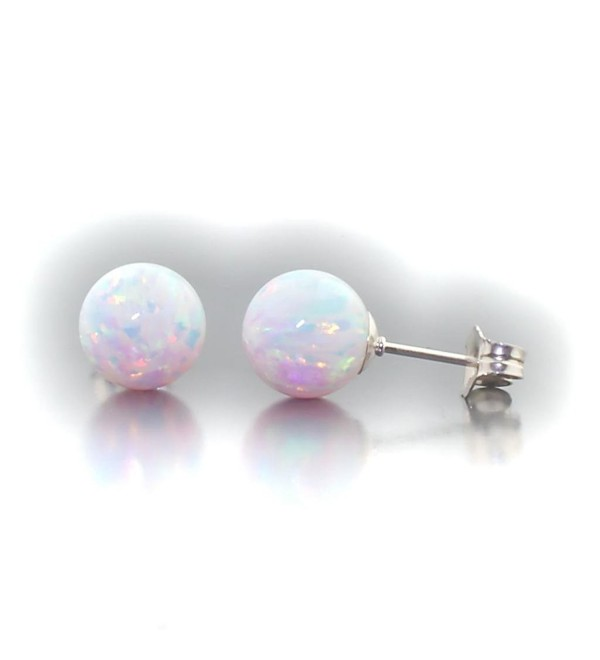 Trustmark 14k White Gold 8mm Fiery White Created Opal Ball Stud Post Earrings- Lorraine - CQ11SHZIO37