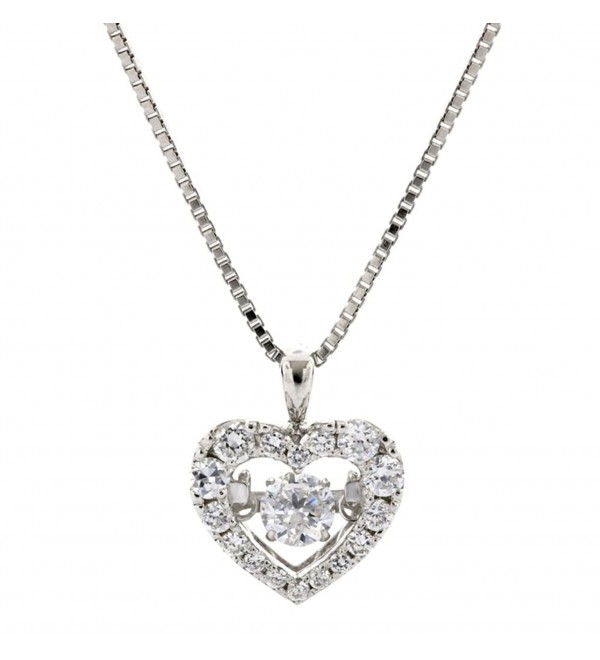 "NANA Small Heart Dancing Stone Pendant S-Silver & Swarovski CZ with 0.8mm 22"" Adjustable Box Chain - C912O2IL3GE"