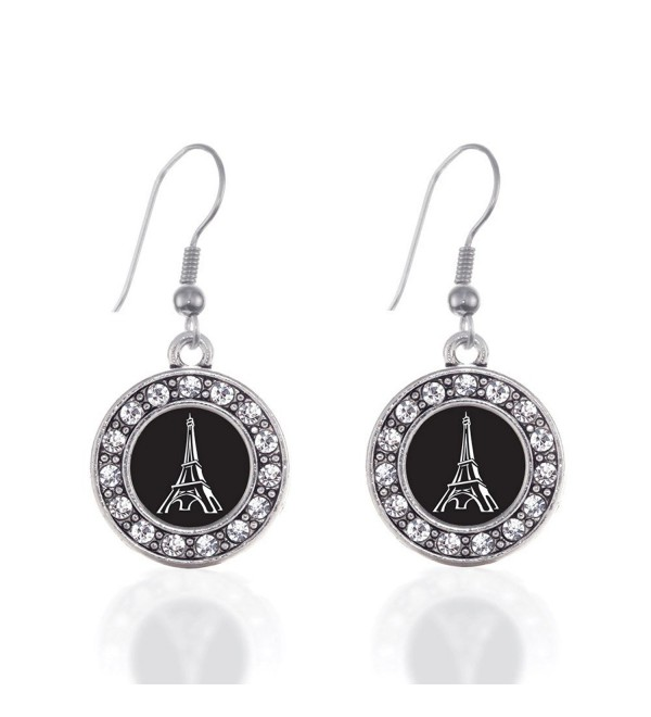 Eiffel Tower Circle Charm Earrings French Hook Clear Crystal Rhinestones - CA124BV8RTB