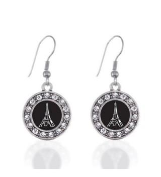 Eiffel Tower Circle Charm Earrings French Hook Clear Crystal Rhinestones - CA124BV8RTB